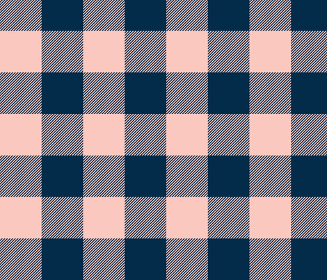 Big Buffalo Plaid - coral/navy fabric by sugarpinedesign on Spoonflower - custom fabric