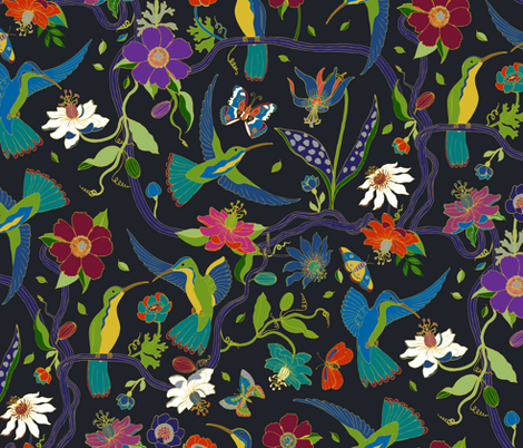 Hummingbirds and Passion flowers - cloisonne fabric by cecca on Spoonflower - custom fabric