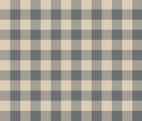 "1.5"" Buffalo Plaid -tan and grey fabric by sugarpinedesign on Spoonflower - custom fabric"