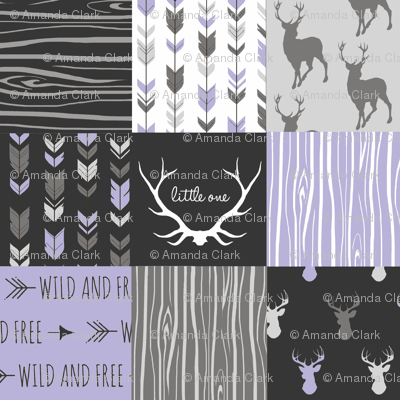 WholeCloth Quilt- lilac, black ,grey antler, arrows Woodgrain patchwork -ch