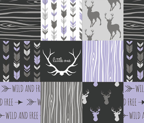 WholeCloth Quilt- lilac, black ,grey antler, arrows Woodgrain patchwork -ch fabric by sugarpinedesign on Spoonflower - custom fabric