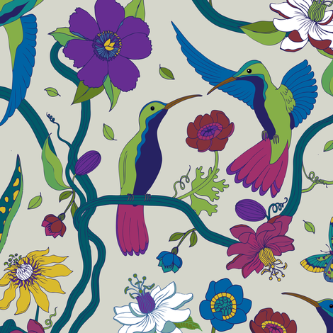 Hummingbirds and Passion flowers - blue on grey fabric by cecca on Spoonflower - custom fabric