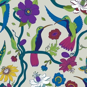 Hummingbirds and Passion flowers - blue on grey