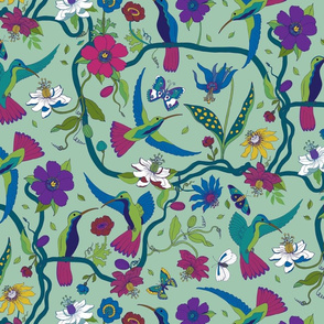 Hummingbirds and Passion flowers - on pale green