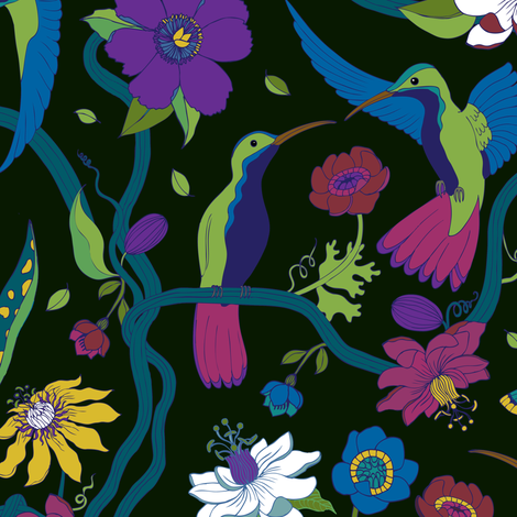Hummingbirds and Passion flowers - on black fabric by cecca on Spoonflower - custom fabric