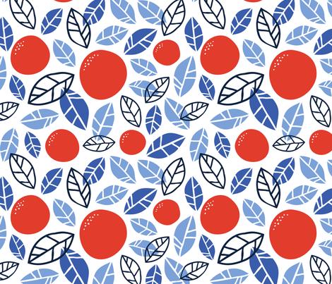 Grove Blue & Orange fabric by inkandcraft on Spoonflower - custom fabric