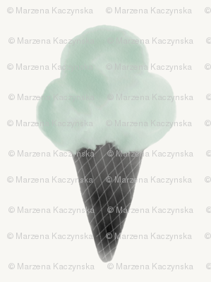 Watercolor ice cream - mint and black