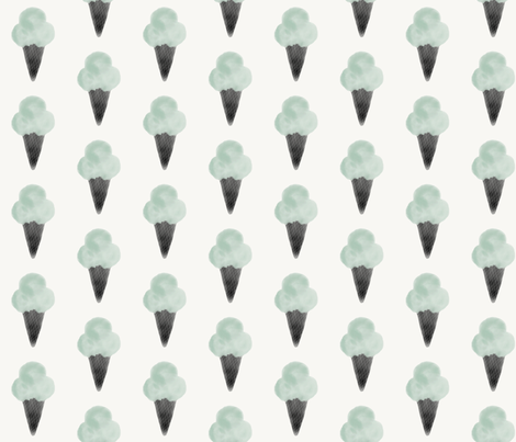Watercolor ice cream - mint and black  fabric by sunny_afternoon on Spoonflower - custom fabric