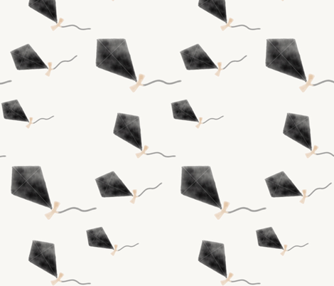 Watercolor kites - black and peach happy kids  fabric by sunny_afternoon on Spoonflower - custom fabric
