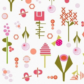 Mid Century modern floral collage in pinks and purples