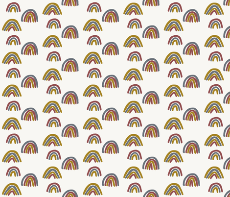Watercolor rainbow - berry mustard dusty blue fabric by sunny_afternoon on Spoonflower - custom fabric