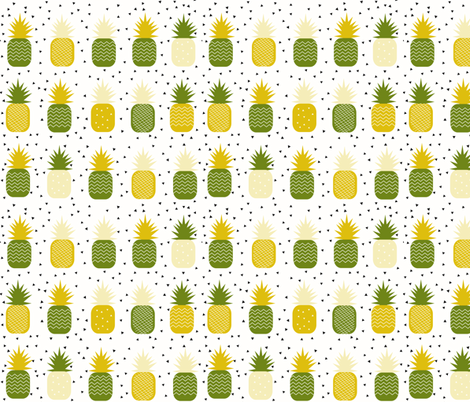 Pineapples - geometric pineapple ananas tropical fruit lemon and mint  fabric by sunny_afternoon on Spoonflower - custom fabric