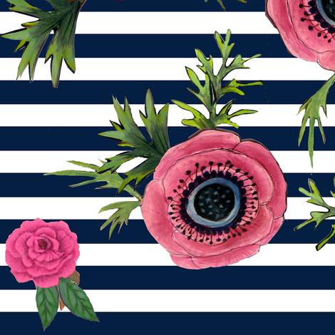 Navy stripe flowers // watercolor floral / nautical stripe fabric by magentarosedesigns on Spoonflower - custom fabric