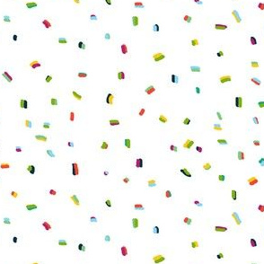 Multi colored confetti rainbow sprinkles on white background