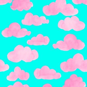 cotton candy clouds in neon