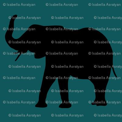 elephants over dark green