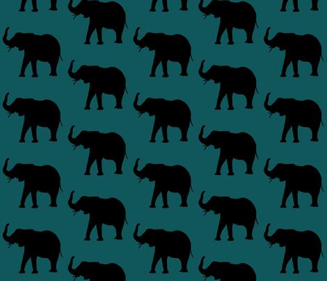 elephants over dark green fabric by isabella_asratyan on Spoonflower - custom fabric
