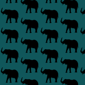 elephants over dark green