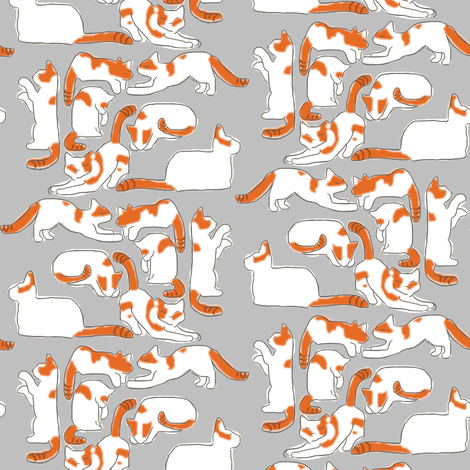 Orange and White Cats on Gray fabric by eclectic_house on Spoonflower - custom fabric