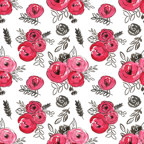 red watercolor valentines floral fabric by smallhoursshop on Spoonflower - custom fabric