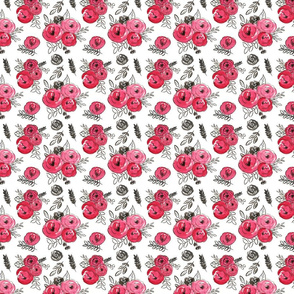red watercolor valentines floral