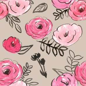 pink sketchy floral on warm gray