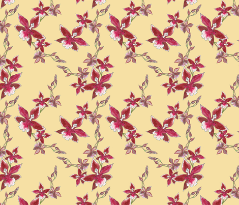 Red orchids on light tan fabric by anne_renata on Spoonflower - custom fabric