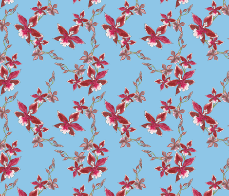Orchids on light blue fabric by anne_renata on Spoonflower - custom fabric