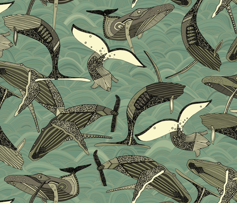whales and waves aqua fabric by scrummy on Spoonflower - custom fabric