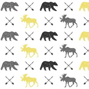 moose bear and arrows (small scale) || yellow