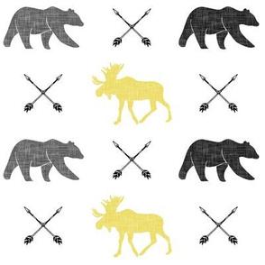 moose bear and arrows || yellow