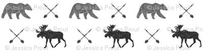 moose bear and arrows    monochrome