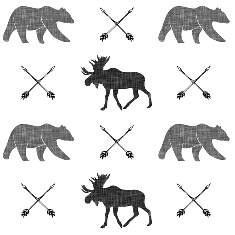 moose bear and arrows    monochrome fabric by littlearrowdesign on Spoonflower - custom fabric