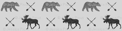 moose bear and arrows (fog) || monochrome