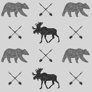 moose bear and arrows (fog) || monochrome
