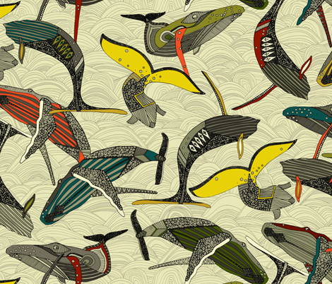 whales and waves bold fabric by scrummy on Spoonflower - custom fabric
