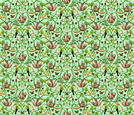 Sloths and Butterflies fabric by vinpauld on Spoonflower - custom fabric