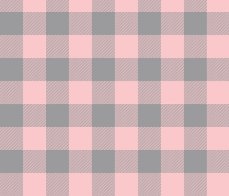 Big Buffalo Plaid - Check - Pink and grey fabric by sugarpinedesign on Spoonflower - custom fabric