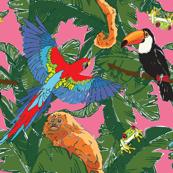 Rainforest Animals Botanical Repeat
