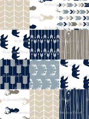 Rustic Woods Patchwork Woodland Cheater Quilt (90) - navy bears