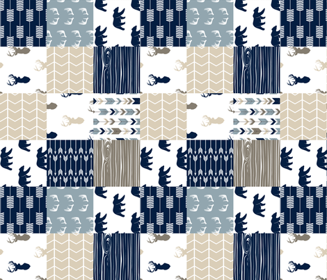 Rustic Woods Patchwork Woodland Cheater Quilt (90) - navy bears fabric by littlearrowdesign on Spoonflower - custom fabric