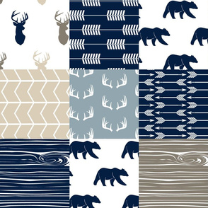 Rustic Woods Patchwork Woodland Cheater Quilt - navy bears