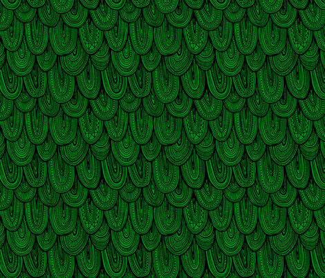Doodle Scales - Black on Green fabric by siya on Spoonflower - custom fabric