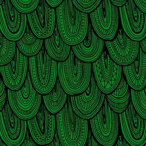 Doodle Scales - Black on Green