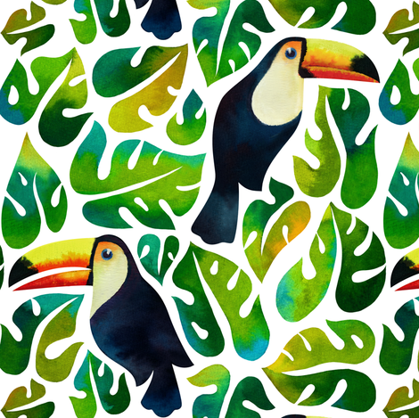 Watercolor toucans with monstera leaves - white fabric by mirabelleprint on Spoonflower - custom fabric