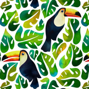 Watercolor toucans with monstera leaves - white