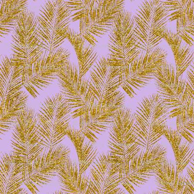 gold glitter plam leaves - lavender, mini