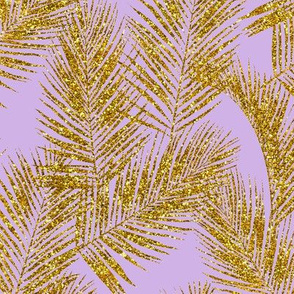 gold glitter plam leaves - lavender, mini