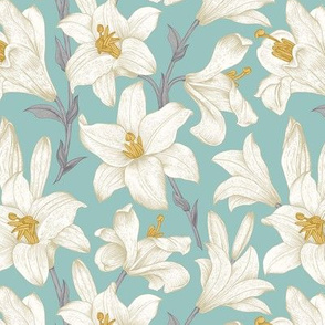 Vintage flowers. White royal lilies on a mint background