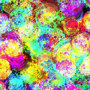 PAINTED ABSTRACT ROSES and dots BRIGHT multicolor light